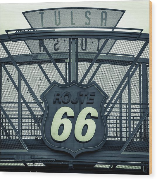 Route 66 Neon Sign - Tulsa - Mixed Tones Wood Print