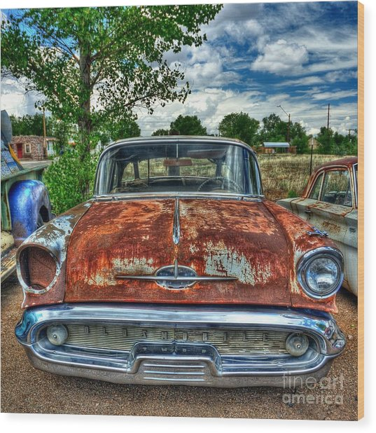 Route 66 Oldsmobile Wood Print by John Kelly