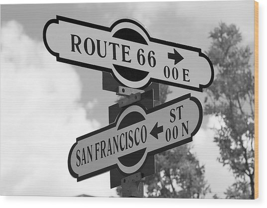 Route 66 Street Sign Black And White Wood Print