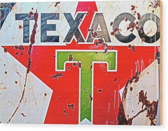 Route 66-texaco Wood Print
