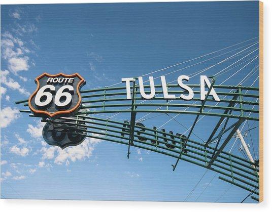 Route 66 Tulsa Vintage Street Art  Wood Print