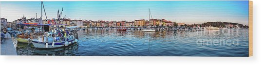 Rovinj Harbor And Boats Panorama Wood Print