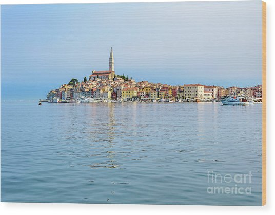 Rovinj In The Early Morning Fog, Istria, Croatia Wood Print