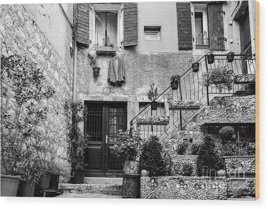 Rovinj Old Town Courtyard In Black And White, Rovinj Croatia Wood Print