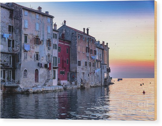 Rovinj Old Town On The Adriatic At Sunset Wood Print