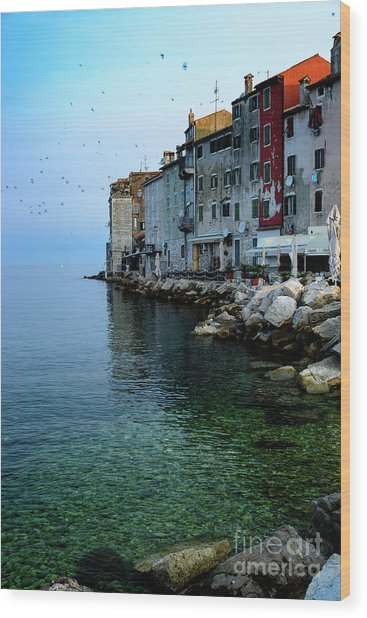 Rovinj Venetian Buildings And Adriatic Sea, Istria, Croatia Wood Print