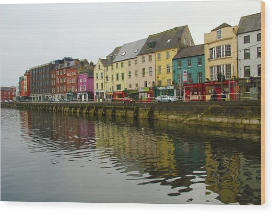 Row Homes On The River Lee, Cork, Ireland Wood Print
