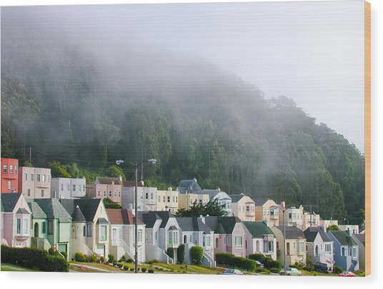 Row Houses In Fog Wood Print