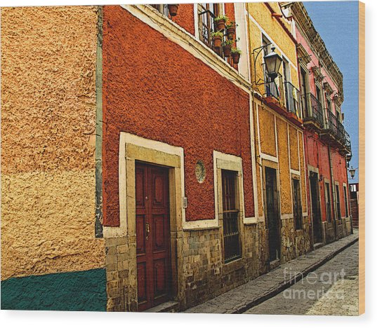 Row Of Casas Guanajuato Wood Print by Mexicolors Art Photography