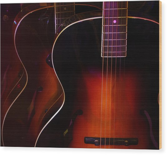 Row Of Guitars Wood Print