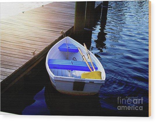 Rowboat At Sunset Wood Print