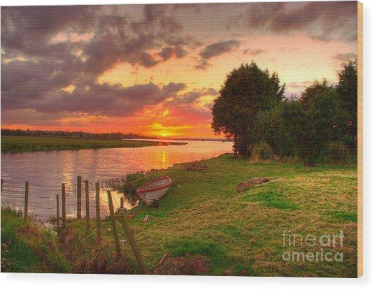 Rowing Boat At Bannfoot Loughneagh Wood Print by Kim Shatwell-Irishphotographer