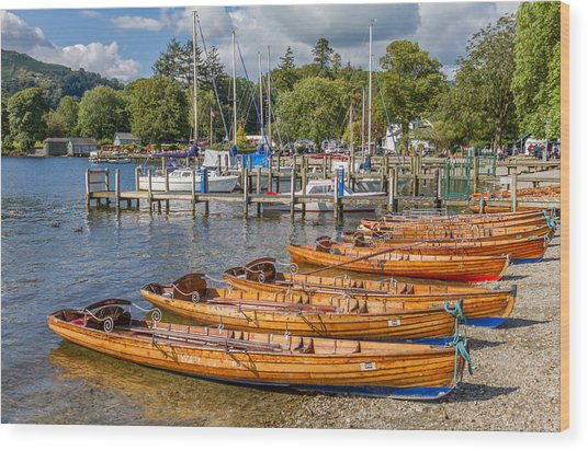 Rowing Boats In Ambleside On Lake Windermere Wood Print