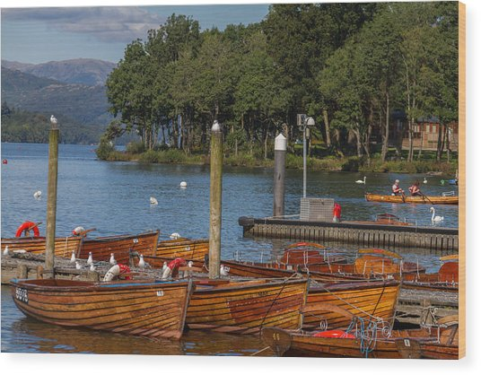 Rowing Boats On Edge Of Bowness-on-windermere Wood Print