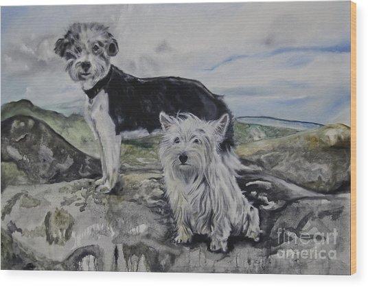Roxie And Skye Wood Print