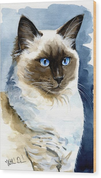 Roxy - Ragdoll Cat Portrait Wood Print