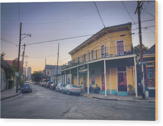 Royal And Touro Streets Sunset In The Marigny Wood Print by Ray Devlin