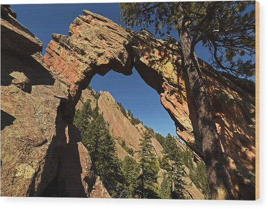 Royal Arch Trail Arch Boulder Colorado Wood Print
