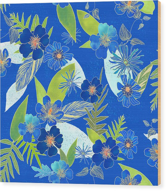 Royal Blue Aloha Tile 3 Wood Print