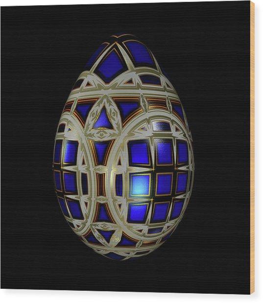 Royal Blue Egg With White Enamel And Goldleaf Wood Print