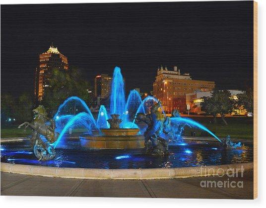Royal Blue J. C. Nichols Fountain  Wood Print