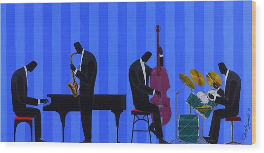 Royal Blues Quartet Wood Print