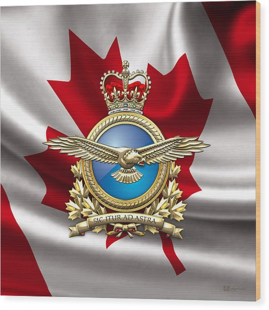 Royal Canadian Air Force Badge Over Waving Flag Wood Print
