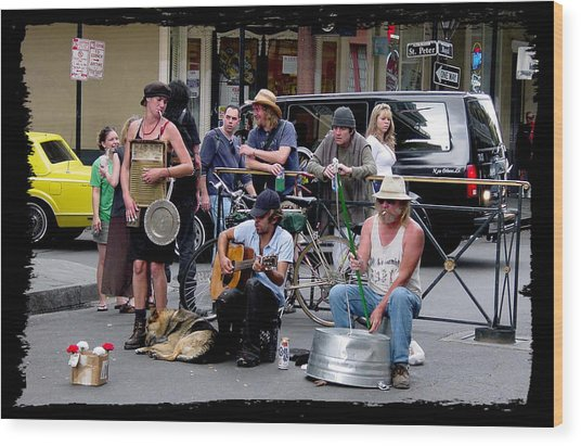 Royal Street Musicians Wood Print by Linda Kish