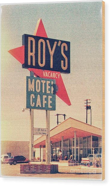 Roy's Motel Wood Print by Delphimages Photo Creations