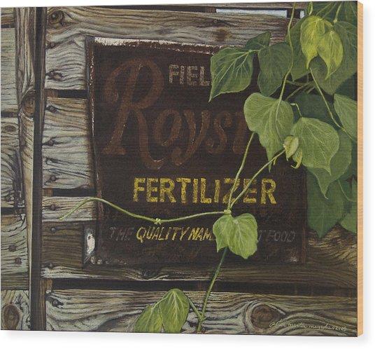 Royston Fertilizer Sign Wood Print by Peter Muzyka