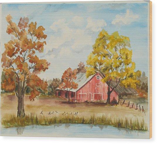 Rt 66 Barn In Bristow Oklahoma Wood Print by Judy Loper