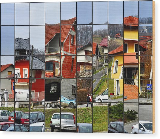 Rubik's Town Wood Print by Samanta