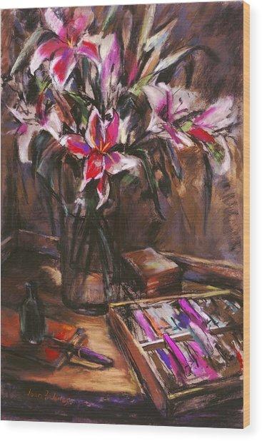 Rubirosa Lilies Wood Print