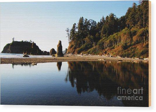 Ruby Beach Reflections Wood Print