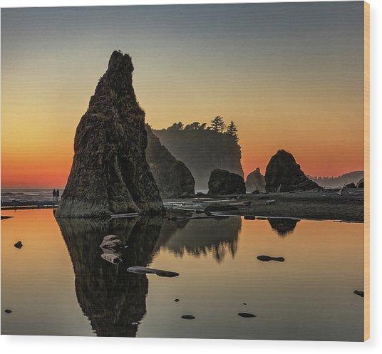 Ruby Beach At Sunset Wood Print