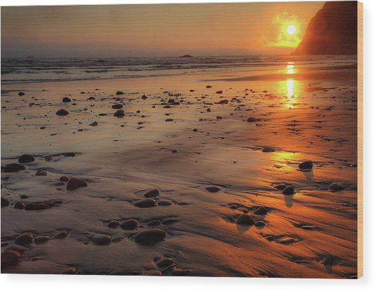 Ruby Beach Sunset Wood Print