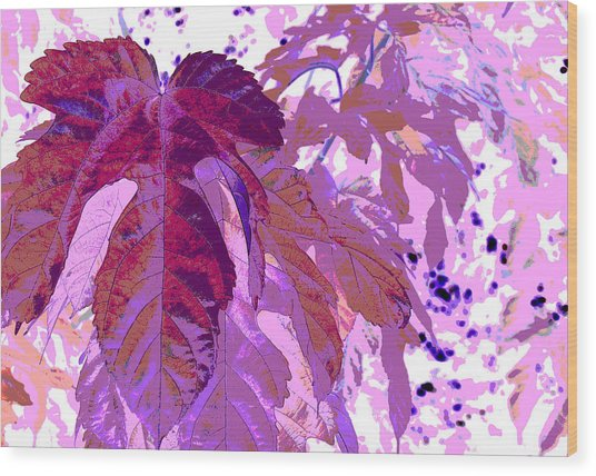 Ruby Leaves Wood Print by Richard Coletti