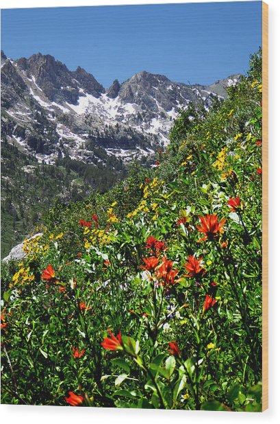 Ruby Mountain Wildflowers - Vertical Wood Print