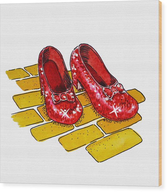 Ruby Slippers The Wizard Of Oz  Wood Print