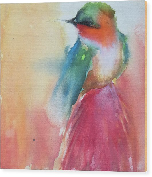 Ruby Throated Hummingbird On A Red Hot Poker Flower Wip Wood Print