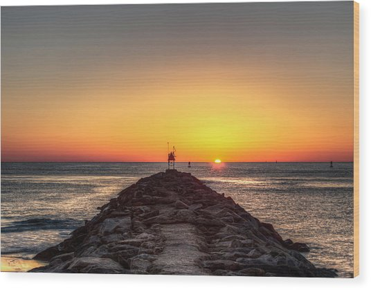 Rudee Inlet Jetty Wood Print