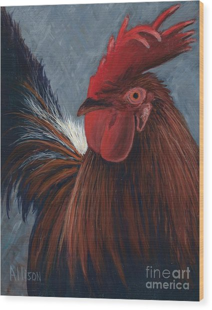 Rudy The Rooster Wood Print