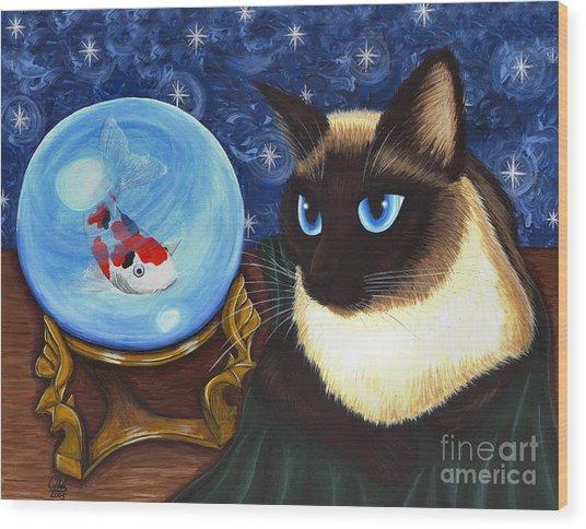 Rue Rue's Fortune - Siamese Cat Koi Wood Print