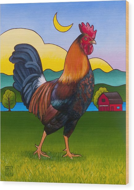 Rufus The Rooster Wood Print