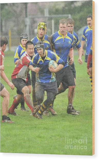 Rugby In The Mud Wood Print