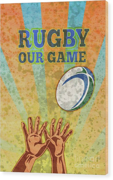 Rugby Player Hands Catching Ball Wood Print by Aloysius Patrimonio