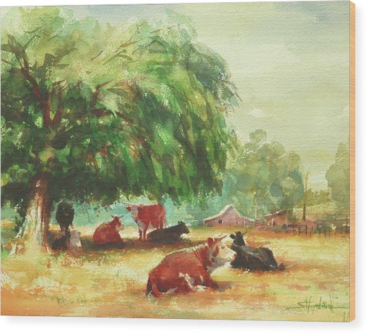 Wood Print featuring the painting Rumination by Steve Henderson