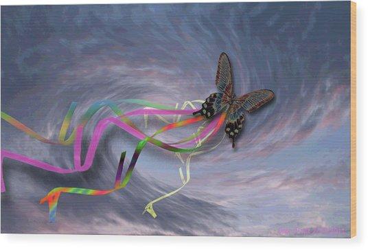 Runaway Kite Wood Print