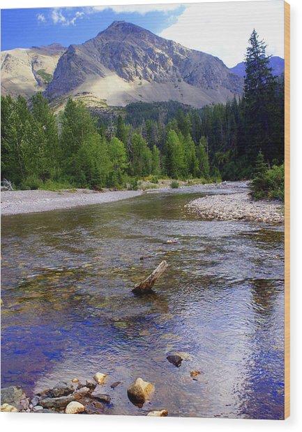 Running Eagle Creek Glacier National Park Wood Print