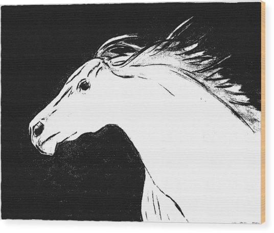 Running Horse Wood Print by Philip Smeeton